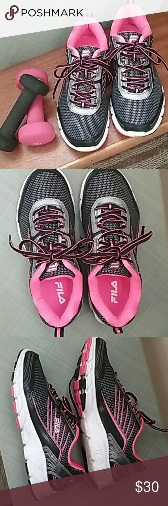 Fila running shoes Comfortable and stylish Fila running shoes Breathable mesh  Upper leather/synthetic /textile  Ladies size 8 Black, bright pink, and a touch of silver  Worn twice just for walking In nearly new condition  Only selling them because... I admit, I have too many shoes!!!!! Fila Shoes Sneakers