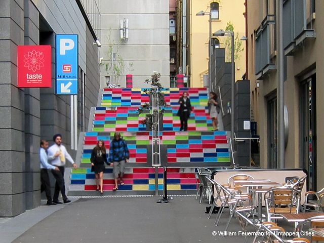 Magda Sayeg stairway art project on Sussex Lane, Sydney -- engaging public art