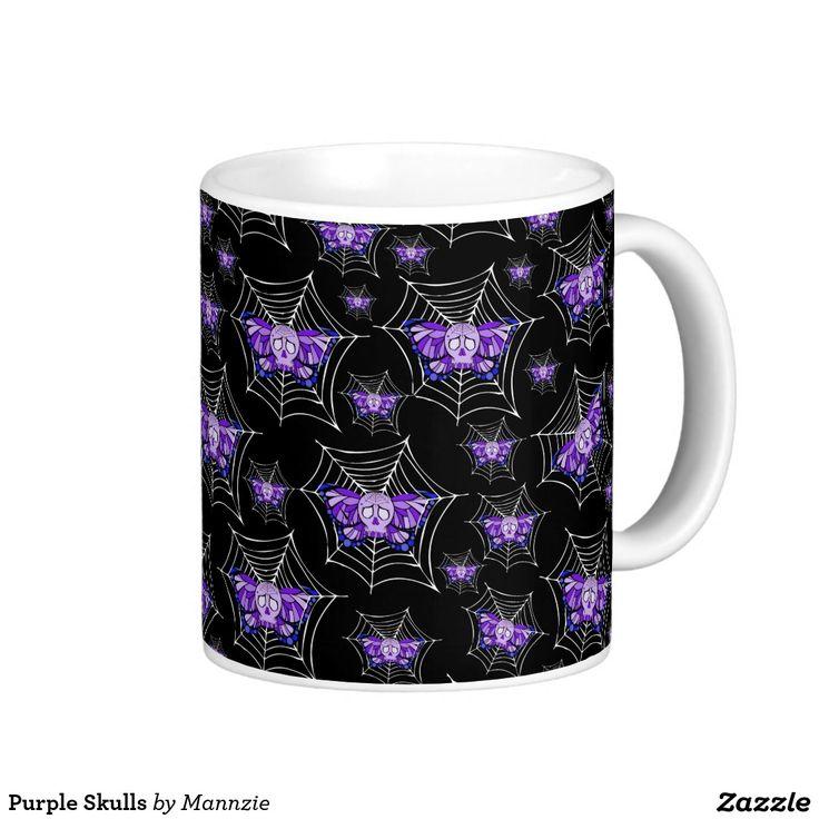 #Purple #Skulls #Coffee #Mug Artwork by Toni Lee from http://www.tearingcookie.com/ Design work by Mannzie