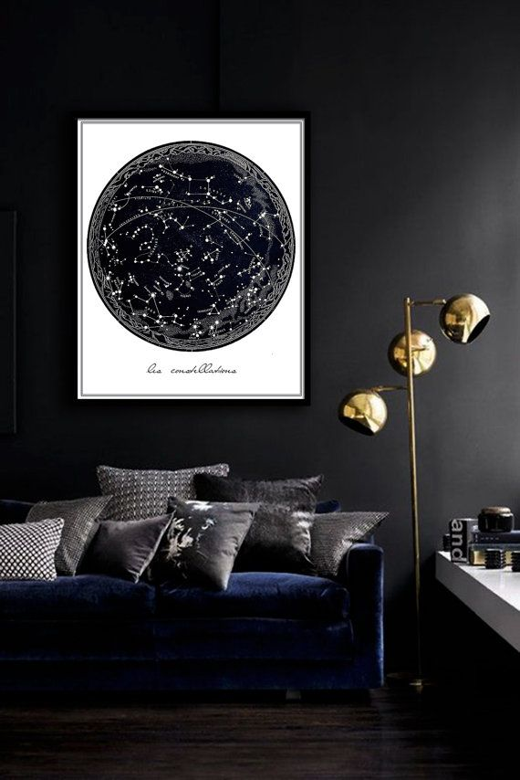 Vintage Constellation Poster PRINTABLE - same price / 5 sizes, Celestial print, Stars art, Bedroom decor, Wall art, Dorm Room art
