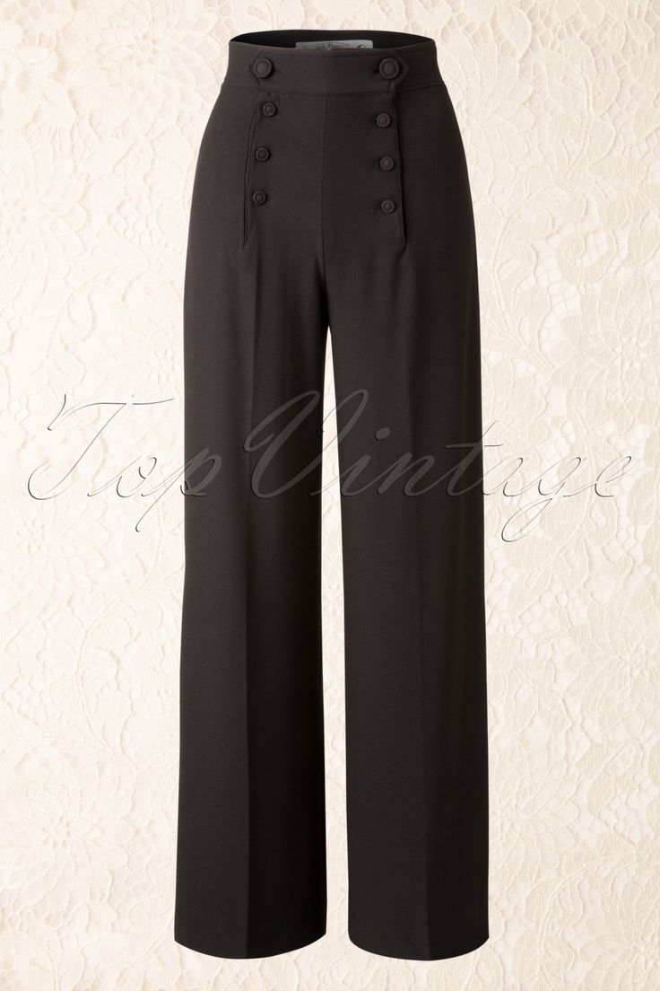 These 40sNelly Bly Classy Trousers in Blackby Bunnyare inspired on the trousers that those progressive women in the 40s wore!  The high waist forms a beautiful contrast with the wide leg and is very flattering with fuller hips/bottom! Made from a supple stretchy fabric in a classy black colour. The zipper is hidden behind the playful buttoning at the front and the legs can easily be shortened if necessary. Nice to pair with a classic white blouse for a day at the offi...