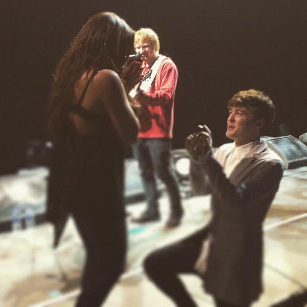 Ed Sheeran Helps Rixton's Jake Roche Propose to Little Mix Member Jesy Nelson on Stage- Take A Look! | E! Online