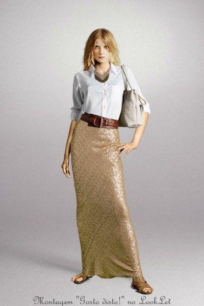 1 Maxi Saia de Lantejoulas = 4 Looks - 1 Maxi Skirt Sequined = 4 Lools
