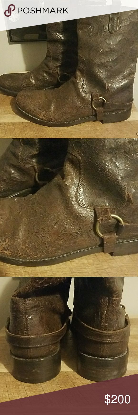 John Varvatos boots Very nice pair of John Varvatos distressed leather boots handmade in Italy gently worn John Varvatos Shoes Boots