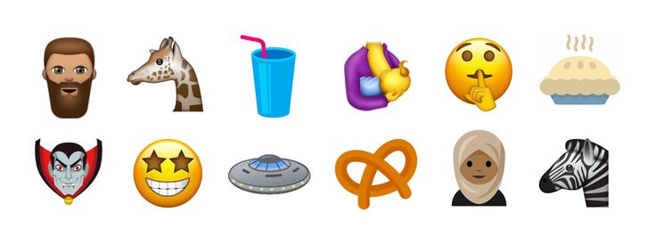 """The Unicode Consortium has today proposed a shortlist of 51 emojis for acceptance in Unicode 10. New emojis include a giraffe, pretzel, vampire, bearded man, soda/milkshake, breastfeeding, a """"shhh"""" face, pie, starry-eyed face, woman in hijab and zebra. Above: A sample of the proposed emoji additions. While faces and"""