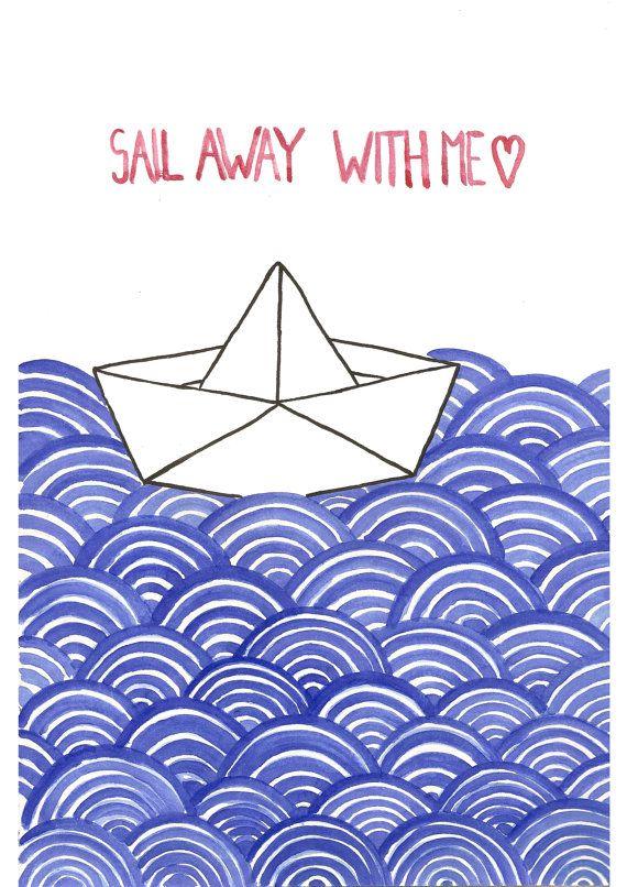 nave di origami. illustrazione ad acquerello stampa. arredamento casa. arte della parete.