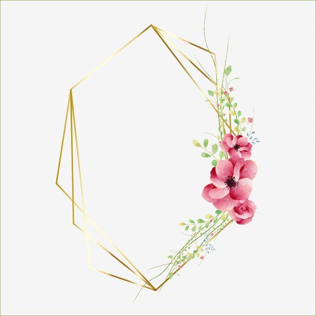 Elegantnaya Priglasitelnaya Geometricheskaya Ramka Ramka Veddiga Akvarel Png I Vektor Png Dlya Besplatnoj Zagruzki Flower Logo Design Geometric Invitations Flower Embroidery Designs