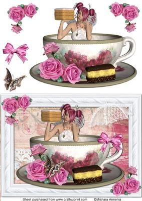 Twinkle 1a on Craftsuprint designed by Mishara Armenia - Gorgeous fairy girl in a cup quick card - Now available for download!