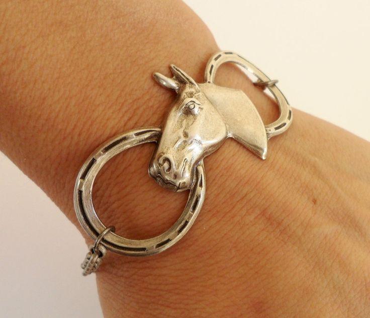 Steampunk Horse Bracelet- Antique Silver Ox- Horseshoe Bracelet. $26.00, via Etsy.