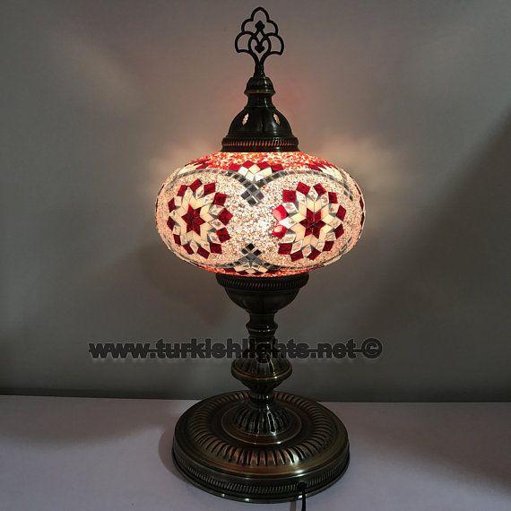 Turkish Mosaic Table Lamp Extra Large Globe Etsy Mosaic Table Mosaic Lamp
