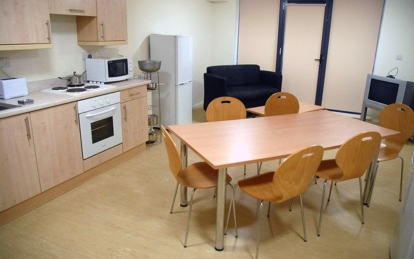 A shared kitchen for students living together at Huntsman House