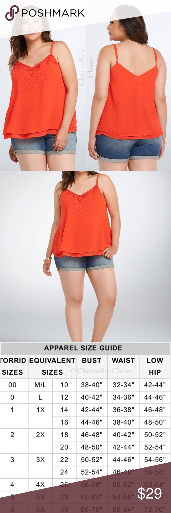 Torrid Embroidered Chiffon Cami Top Plus Size Brand New With Tags Plus Size 5 28 5X   Bae won't be able to keep their hands off you in this cami top! It's pretty irresistible with siren red chiffon layered together for a swingy effect. The embroidered neckline is sexy without trying too hard and just low enough that it'll leave them wanting more. Polyester torrid Tops