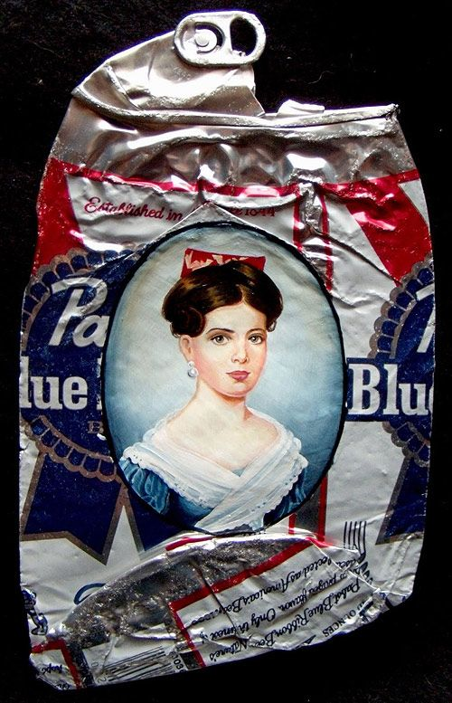"""My White Trash Family"" portraits on discarded beer cans by Kim Alsbrooks Hmmm...my Dad didn't drink, except on rare occasions - I think it was Stagg- is that a beer brand from 1970's?"