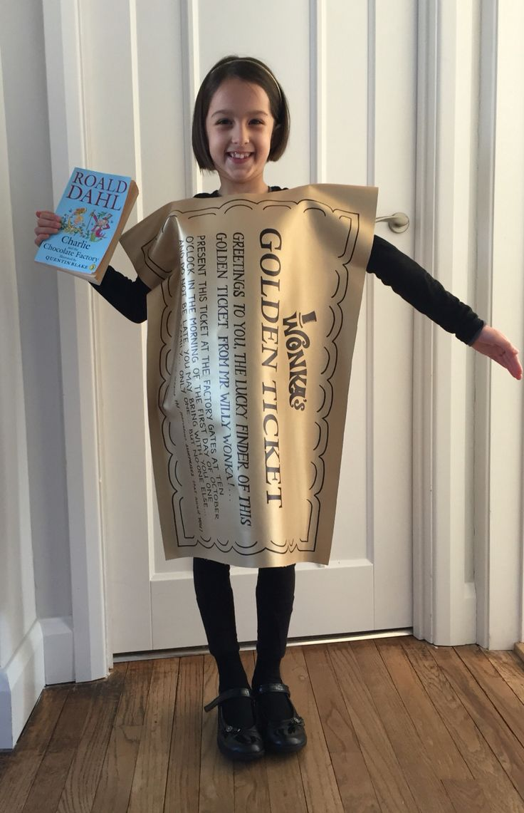 Golden Ticket costume for World Book Day.  Charlie and the Chocolate Factory