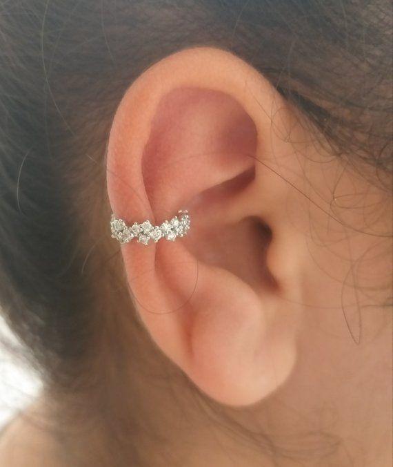Helix Piercing Septum Clicker 14k White Diamonds Ear Etsy Ear Jewelry Diamond Earing Conch Earring