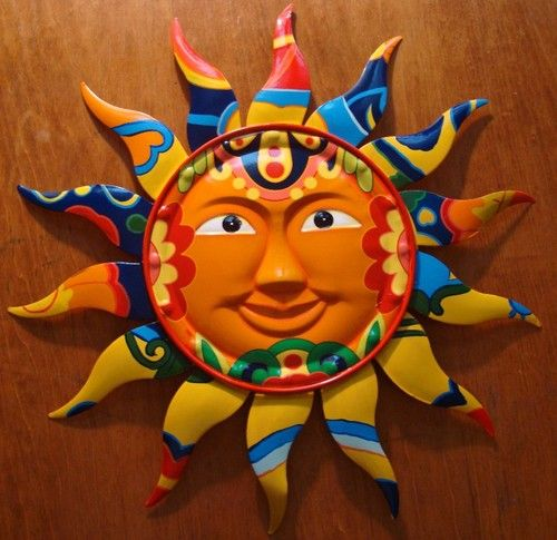 Gorgeous Metal Talavera Tile Style Mexican Sun Wall Art