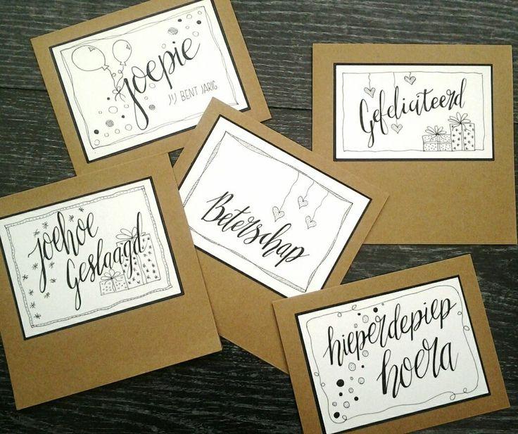 handlettering kaartje tekenen lettering doen we zo echte post is veel leuker verjaardag krijtstift raamtekening sterkte beterschap