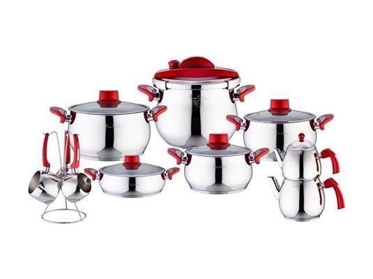 Pierre Cardin 18 Parça Çelik Tencere Seti Crown Kırmızı | cazip geldi