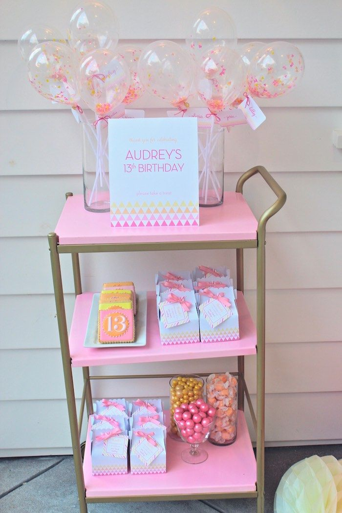 Modern pink yellow 13th birthday party via kara 39 s party for 13th birthday decoration ideas