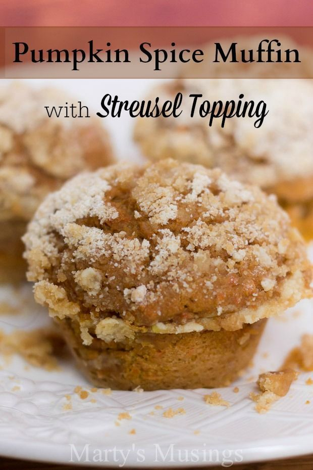 These easy pumpkin spice muffins begin with a boxed spice cake mix and end with a delicious streusel topping. Must have breakfast or snack for fall that your family and friends will gobble up in a hurry! from Marty's Musings #write31days
