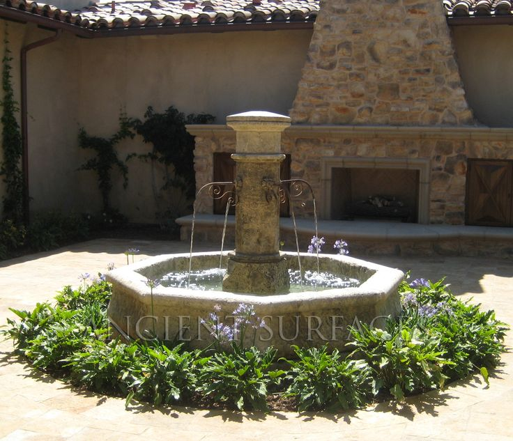 Mediterranean Exterior Of Home With Pathway Fountain: 77 Best Fountains. Rustic Provence French Stone Fountains