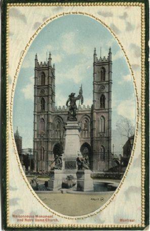 Valentine Postcard - Maisonneuve Monument and Notre Dame Church, Montreal - 106117JV