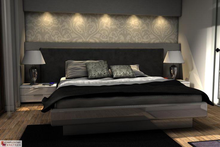 Aranżacja sypialni wystrój nowoczesny w kolorach beżowy, brązowy, czarny, szary - projekt wnętrza o id 6635536 w Homplex.pl, $3745