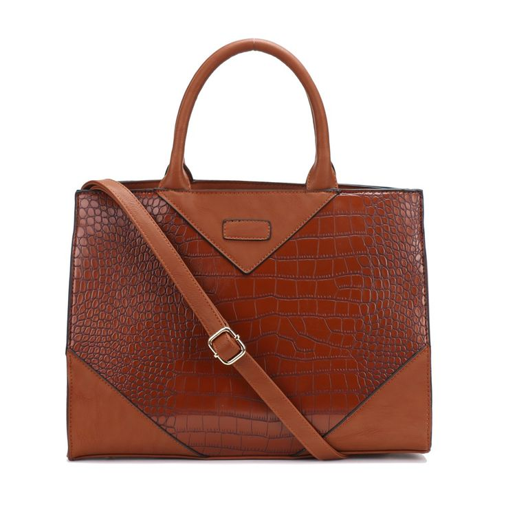 """""""Priscilla"""" is carrying croco through this AW15/16 and she is doing it well! Very classy tote bag, perfect for the office or business dress. Want her in black or navy?! She's yours... www.borsetta.london xx Hols xx"""