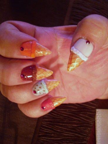 Ice Cream Cones by Aracely28 - Nail Art Gallery nailartgallery.nailsmag.com by Nails Magazine www.nailsmag.com #nailart