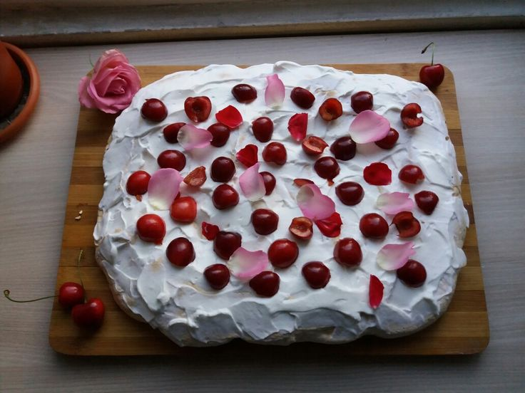 Rosewater and cherry  pavlova