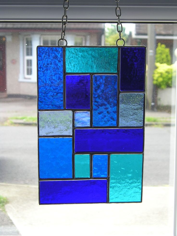 Stained Glass Abstract Suncatcher In Shades Of Blue