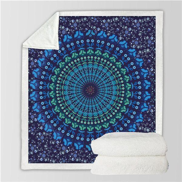 Bohemian Blue Floral Mandala Throw Sherpa Fleece Blanket Fuzzy Microfiber Blanket