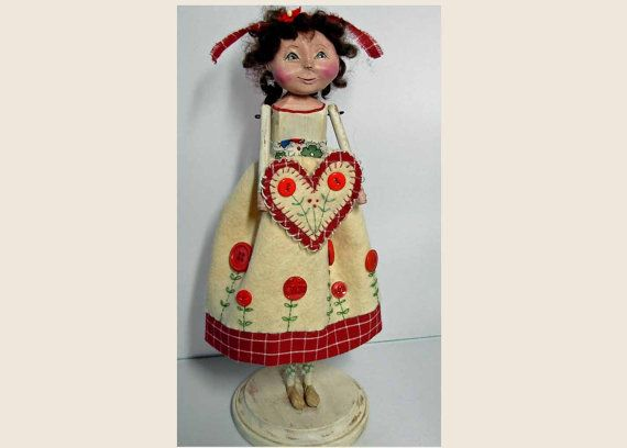 Folk Art Valentine Doll Embroidered Hearts Sculpted By