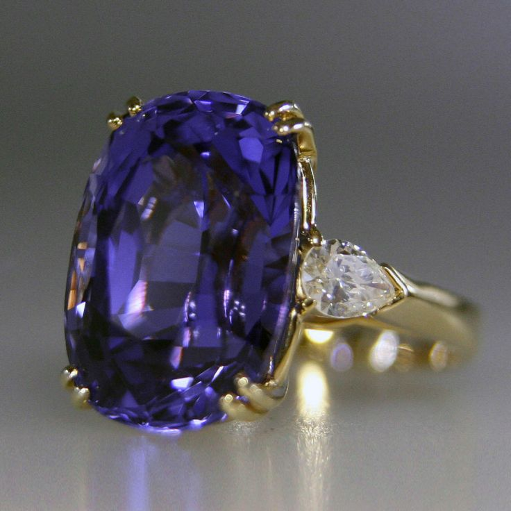 No Heat Ceylon, Color Change Sapphire and Diamond Ring | From a unique collection of vintage more rings at https://www.1stdibs.com/jewelry/rings/more-rings/