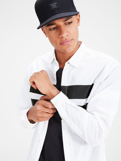 Block striped graphic long sleeved shirt in white and black, 100& cotton, slim fit style   JACK & JONES