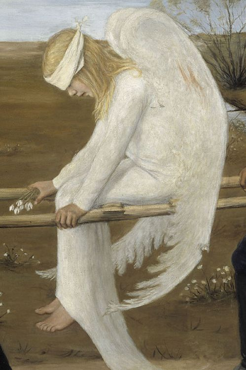 The Wounded Angel, 1903, Ateneum, Helsinki Hugo Simberg .  Descriptiopn from Wiki: 'The Wounded Angel (Finnish: Haavoittunut enke...