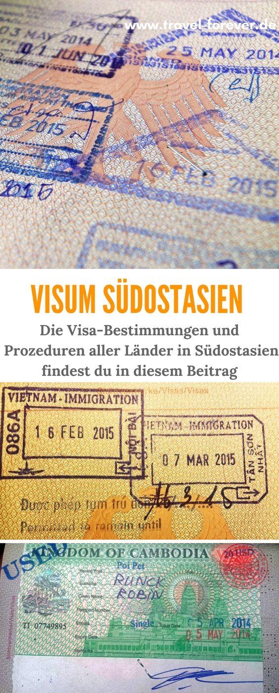 Visum Südostasien - Die Visa Bestimmungen und Info zur Visum Beantragung aller Länder in Südostasien. Thailand Visum | Malaysia Visum | Indonesien Visum | Vietnam Visum | Singapur Visum | Kambodscha Visum | Laos Visum | Philippinen Visum | Myanmar Visum | Brunei Visum | Timor-Leste Visum |