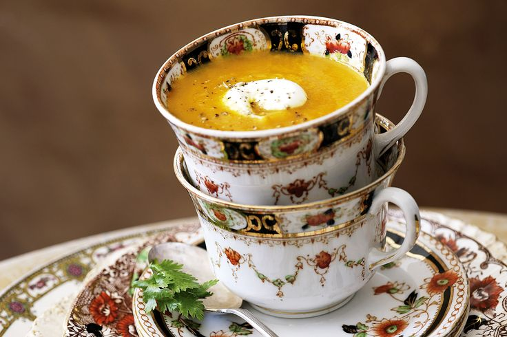 Carrot and coriander soup with yoghurt swirl As a cool change approaches, it's time to unearth seasonal offerings from the vegetable patch into delicious colourful creations. http://www.taste.com.au/recipes/24977/carrot+and+coriander+soup+with+yoghurt+swirl