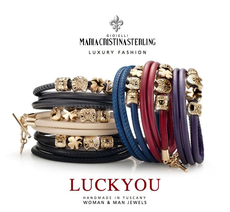 Maria Cristina Sterling gioielli moda  bracciali Luckyou argento e pelle Made in Tuscany Italy