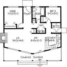 Cottage Style House Plan - 2 Beds 1 Baths 884 Sq/Ft Plan #126-110 Floor Plan - Main Floor Plan - Houseplans.com