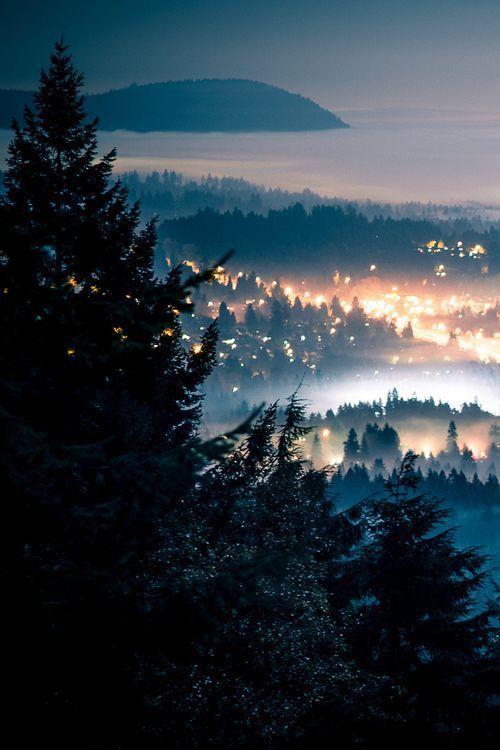 Foggy Night, Seattle, Washington photo via aliface