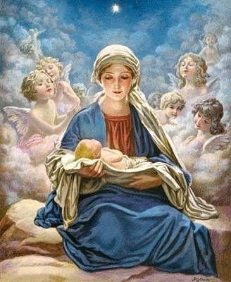"""Myriam, sentada en su lecho tenía en el regazo a su tierno recién nacido. Myriam, la mujer de la dulzura y del silencio, miraba a todos y miraba a su niño. Y callaba abismándose nuevamente en su interna contemplación.Por fin rompió el silencio meditativo de todos: —Paréceme que mi hijo me dice a lo más hondo del alma: """"cantad un himno de acción de gracias porque se ha cumplido la voluntad del Altísimo""""."""