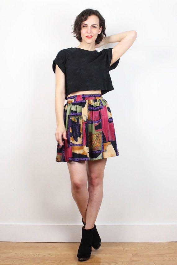 Vintage 80s Skirt Black Pink Purple Abstract Print Mini Skirt New Wave Floral Geometric Elastic Waist Skater Skirt Hipster 1980s XS S Small #vintage #etsy #1980s #80s #skirt #mini #skater #abstract #new #wave