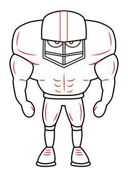 Drawing a cartoon football player