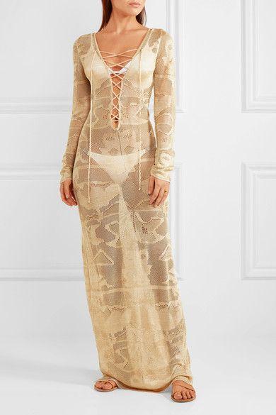 Melissa Odabash - Giselle Metallic Crochet-knit Maxi Dress - Sand -
