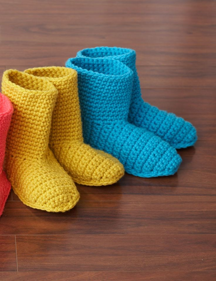 Slipper Boots - Free Crochet Pattern - Adult And Child Sizes - See http://www.ravelry.com/patterns/library/slipper-boots-2 For Additional Projects - (yarnspirations)