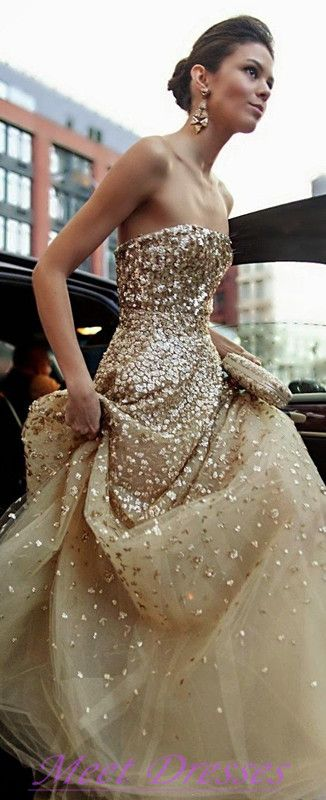 Sparkly Wedding Dresses Strapless Champagne Beaded Tulle Prom Dresses Evening Gowns For Teens Formal