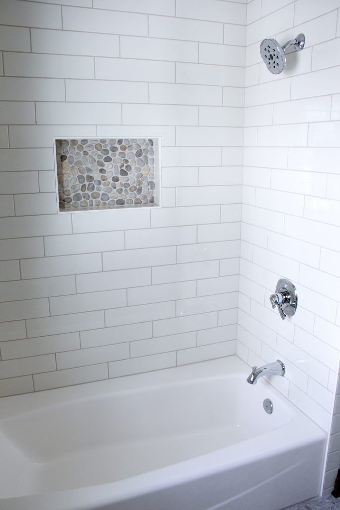 Tiled Shower Angora Soho 4x16 Biscuit Grout Mapei
