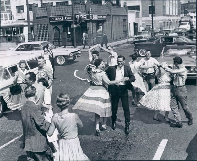 Five Thousand Page Views!  1950's Dancing in the street