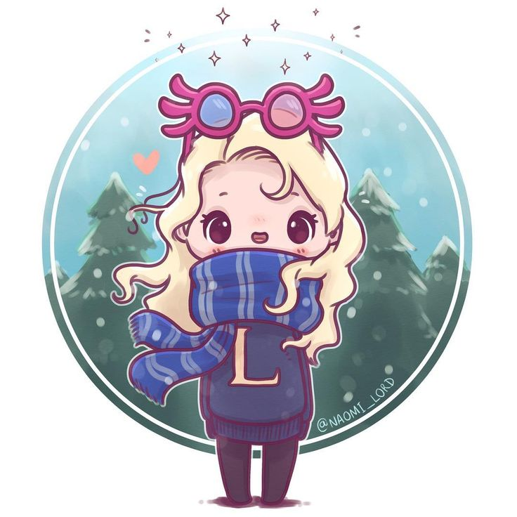"""9,044 Likes, 230 Comments - Naomi Lord (@naomi_lord) on Instagram: """"❄️ Wintry Luna ❄️(with a Wrackspurt on her head ) ❄️who else should I draw in house scarves? :3…"""""""